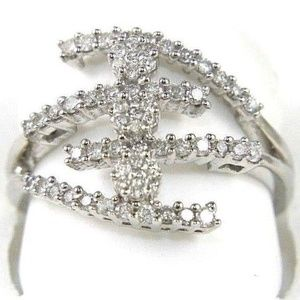 Diamond Bypass Cluster Lady's Ring 14k WG .60Ct